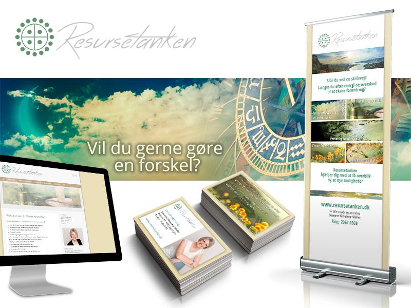 Resursetanken, logo, rollup, visitkort, collage og website