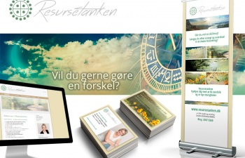 Resursetanken, logo, rollup, visitkort, collage og website