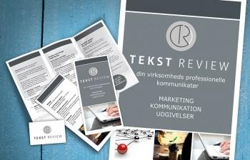 Tekst Review, logo, plakat, folder, visitkort